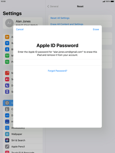 Key in the password for your Apple ID and press Erase. Wait a moment while the factory default settings are restored. Follow the instructions on the screen to set up your tablet and prepare it for use.