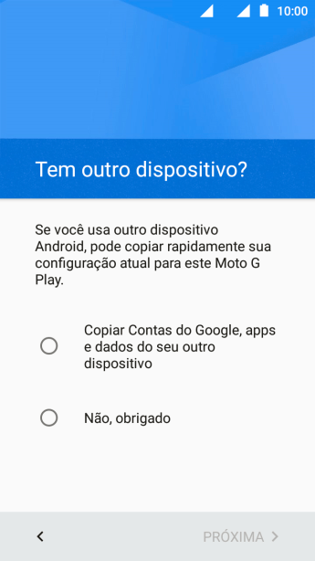 Pressione Copiar Contas do Google, apps e datos do seu outro dispositivo.