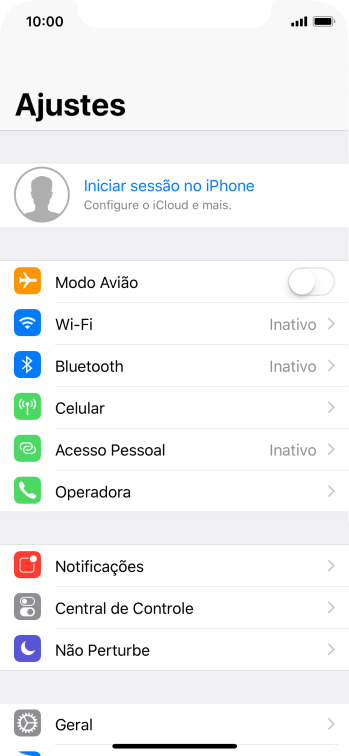 Pressione Iniciar sessão no iPhone.