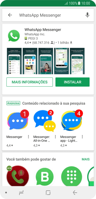 Pressione WhatsApp Messenger.