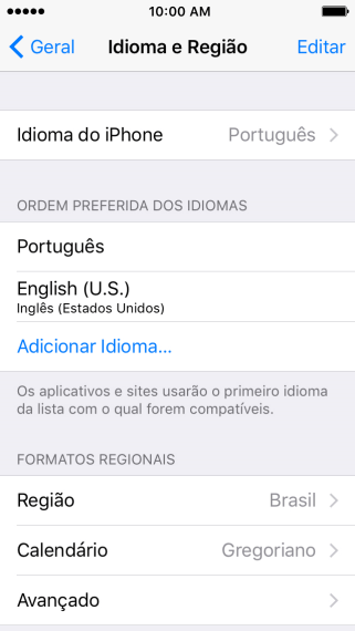 Pressione Idioma do iPhone.
