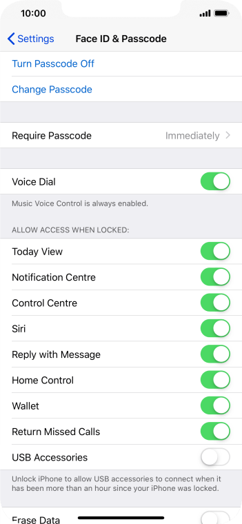 Press Turn Passcode Off and key in the phone lock code.