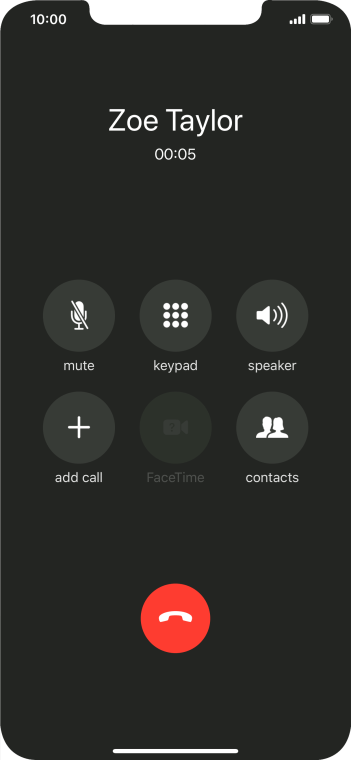 Press the end call icon to end the call.