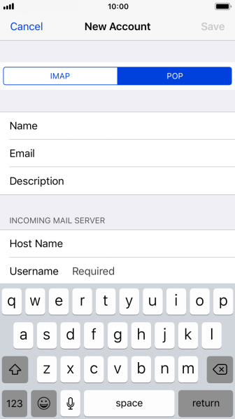 Press Username and key in the username for your email account.