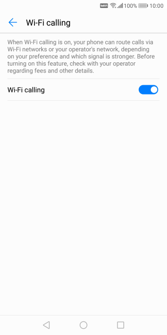 When Wi-Fi calling is active, the Wi-Fi calling icon is displayed.
