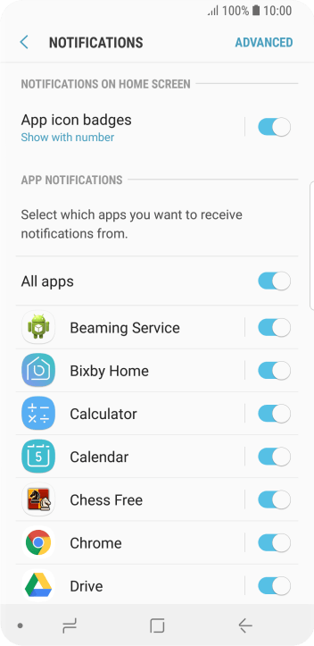 Press the indicator next to the required app to turn the function on or off.