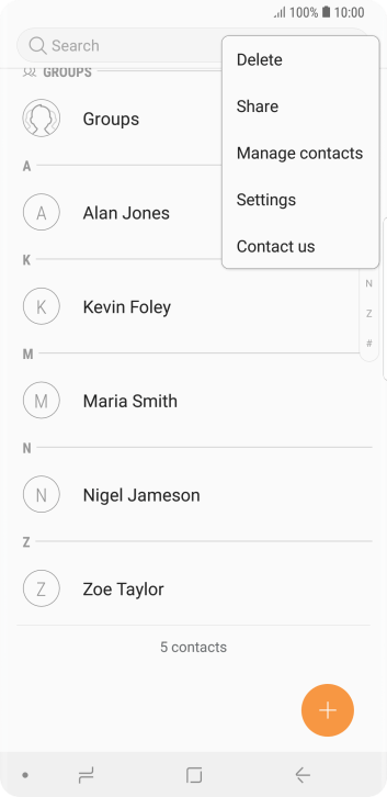 Press Manage contacts.