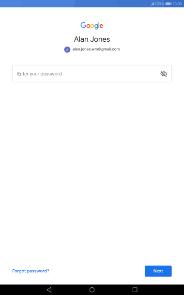 Press Enter your password and key in the password for your Google account.