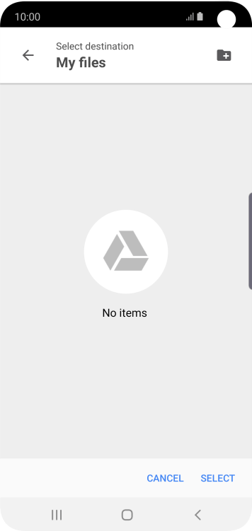 To create a new folder, press the new folder icon and follow the instructions on the screen to create a new folder.