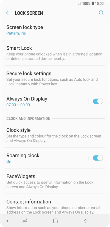 Press Screen lock type and key in the additional phone lock code you created earlier.