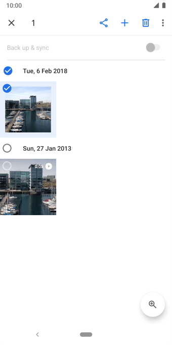 Press the required pictures or video clips to add them.