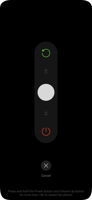 Press and drag the power off icon downwards.