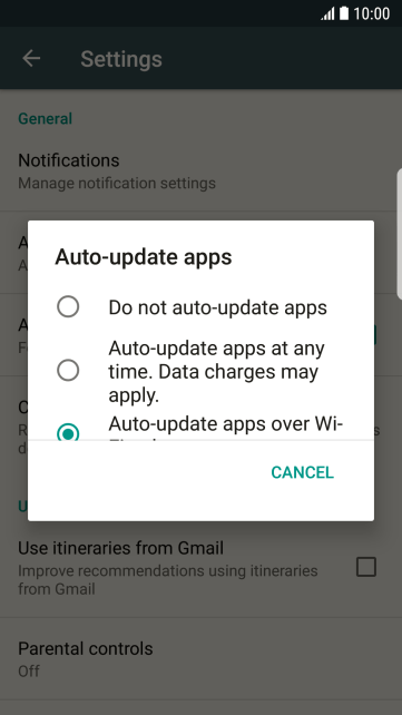 To turn off automatic update of apps, press Do not auto-update apps.