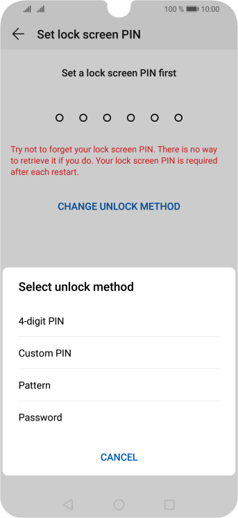 Press the required phone lock code and follow the instructions on the screen to create an additional phone lock code.