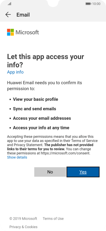 If this screen is displayed, you email account has been recognised and set up automatically. Follow the instructions on the screen to key in more information and finish setting up your phone.