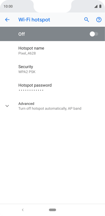 Press Hotspot password and key in the required password.