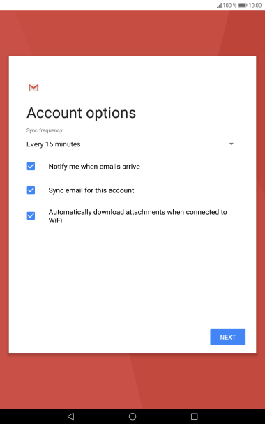 If this screen is displayed, you email account has been recognised and set up automatically. Follow the instructions on the screen to key in more information and finish setting up your tablet.