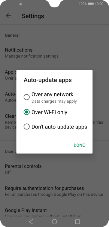To turn on automatic update of apps using mobile network, press Over any network.