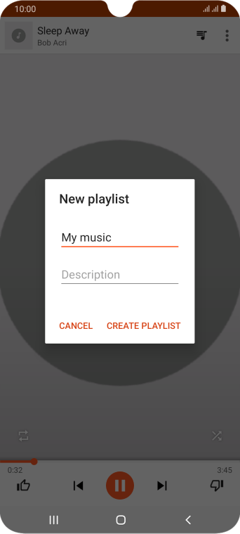 Key in a name for the playlist and press CREATE PLAYLIST.
