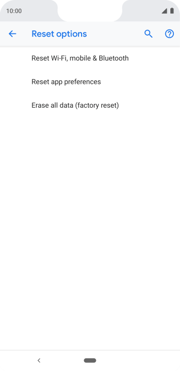Press Erase all data (factory reset).