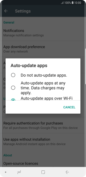 To turn off automatic update of apps, press Do not auto-update apps..