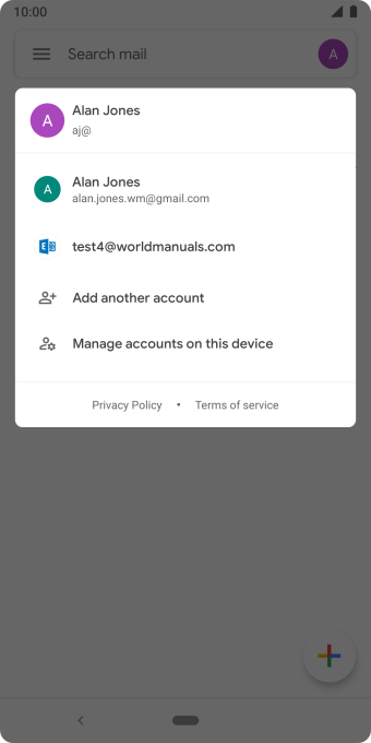 Press the required email account.