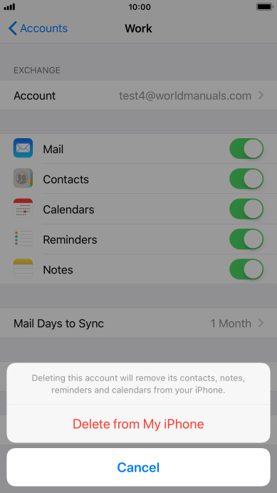 Delete email account on your Apple iPhone 8 Plus iOS 11 0