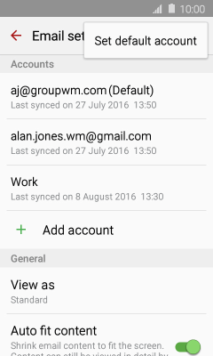gmail how to set default account