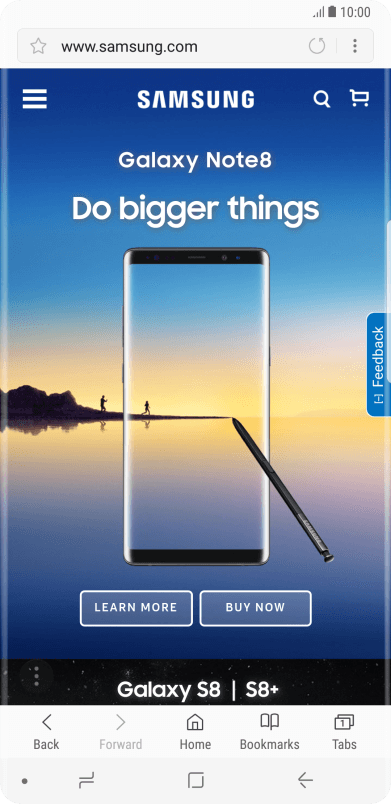 Use internet browser on your Samsung Galaxy Note8 Android