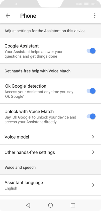 Select voice control settings on your Huawei P20 Pro Android 8 1