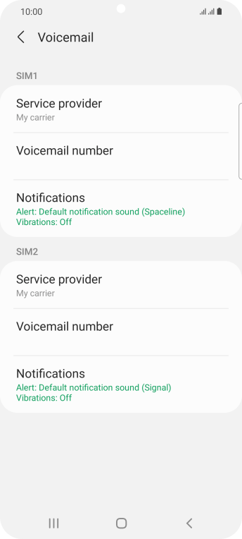 Press Voicemail number below the required SIM.