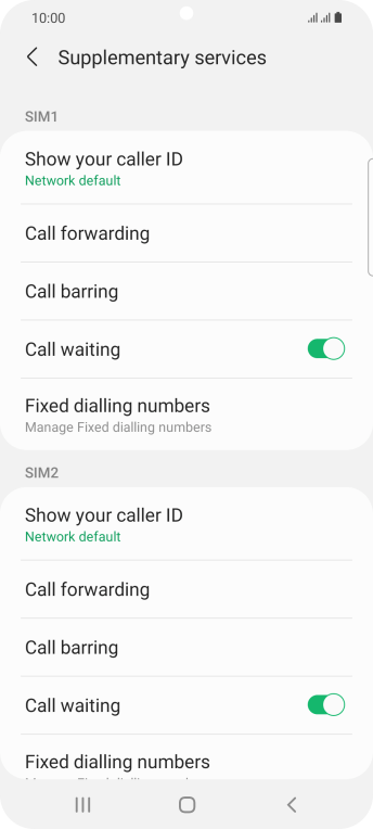 Press Fixed dialling numbers below the required SIM.