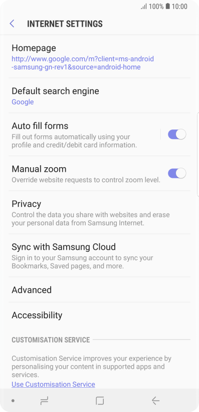 Clear browser data on your Samsung Galaxy Note9 Android 8 1