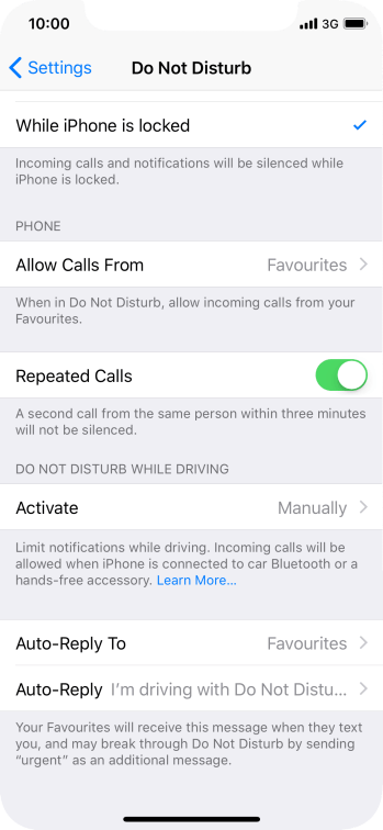 Press Auto-Reply and follow the instructions on the screen to edit the automatic message that Do Not Disturb While Driving is turned on.
