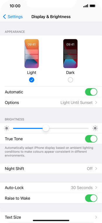 If you turn on the function, press Options and follow the instructions on the screen to select the required period of time for Dark Mode.