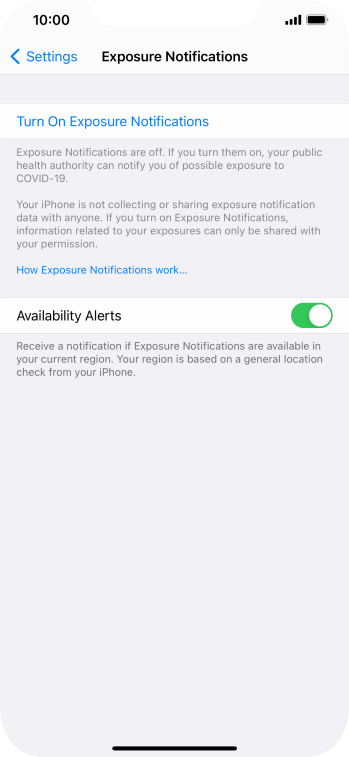 Press Turn On Exposure Notifications.