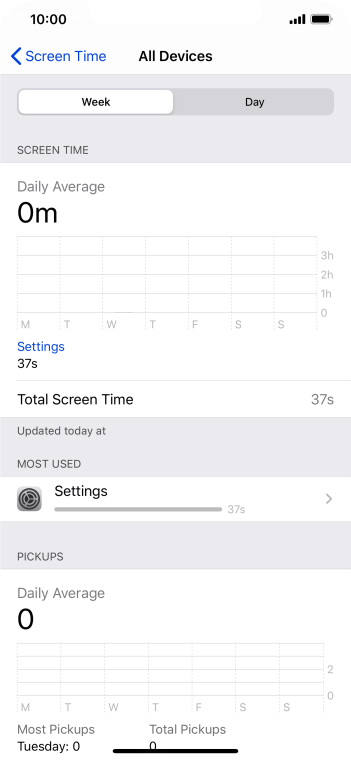 The use for the past week is displayed next to Total Screen Time.