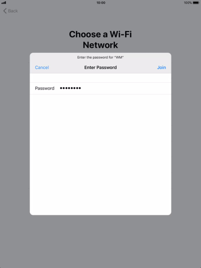 Key in the password for the Wi-Fi network and press Join.