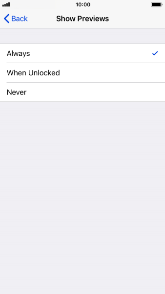 To select notification preview on the lock screen, press Always.