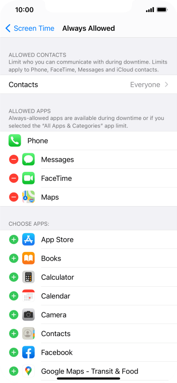 Press the add icon next to the required app to add it to the list of allowed apps during Downtime.