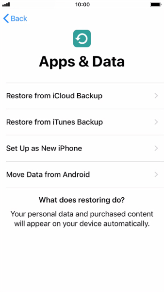 You can restore content from an iCloud backup when your phone is activated for the first time and after a factory reset. When this screen is displayed, your phone is ready to restore content from an iCloud backup.