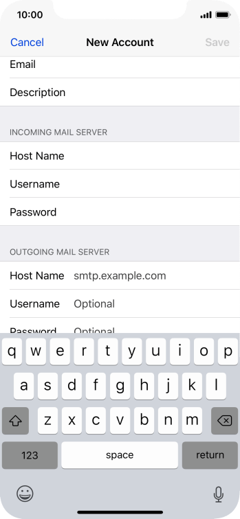 Press Host Name and key in the name of your email provider's outgoing server.
