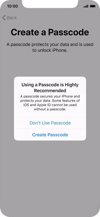 If you turn off the function, press Don't Use Passcode.