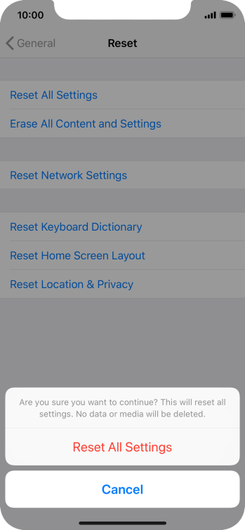 Press Reset All Settings. Wait a moment while the factory default settings are restored. Follow the instructions on the screen to set up your phone and prepare it for use.