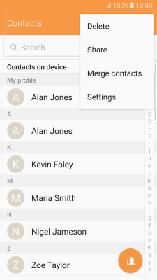 Back up contacts to your SIM and your phone - Samsung Galaxy S7 edge