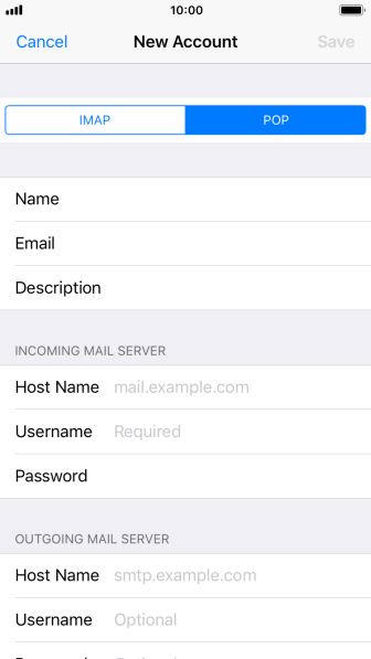 Press Host Name and key in the name of your email provider's incoming server.