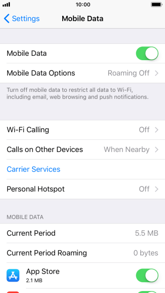 Press Mobile Data Options.
