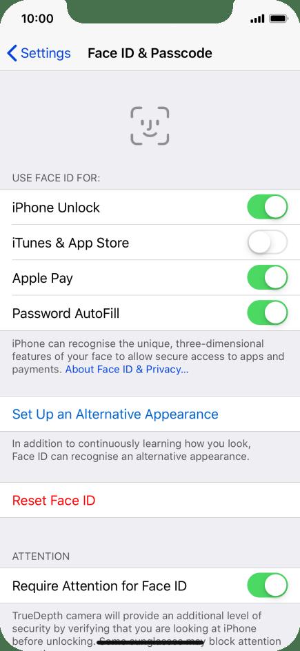 Use Face ID - Apple iPhone Xs - Optus