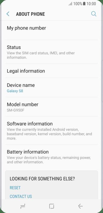 Check software version - Samsung Galaxy S8 - Optus