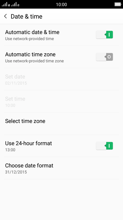 Set date and time - OPPO R7 - Optus